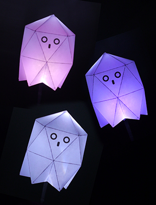 Paper ghosts with LED torch