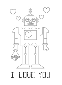robot coloring pages valentine
