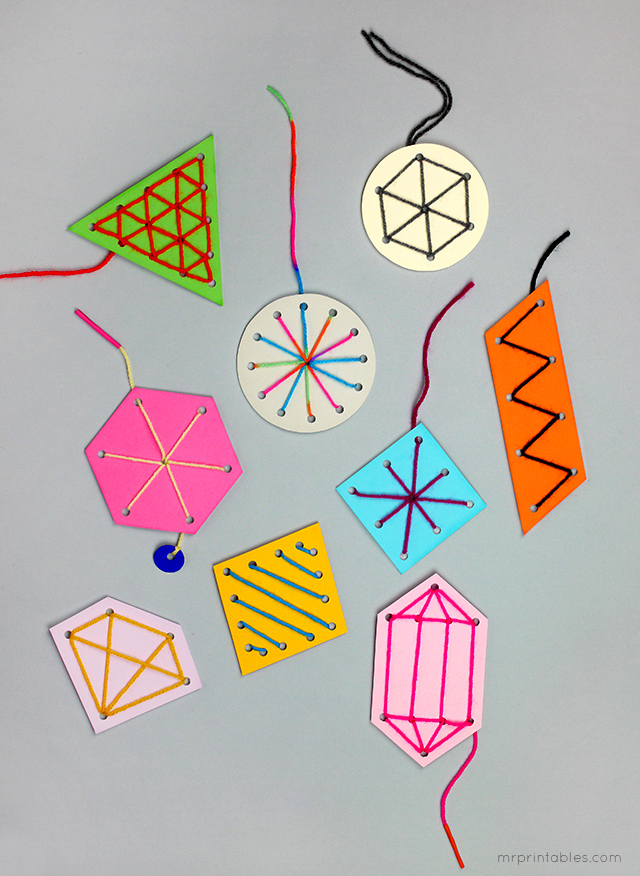 easy sewing card templates for kids / make nice ornaments or gift tags too