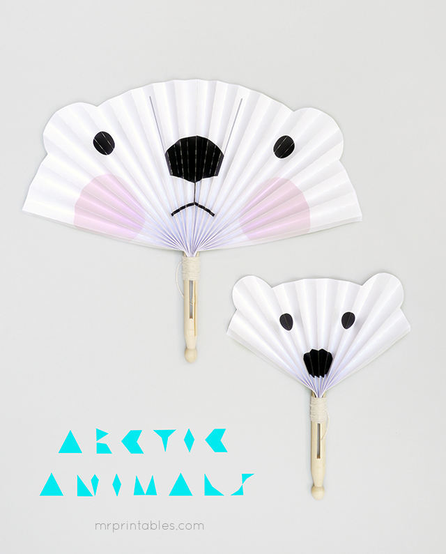 Arctic Animals Paper Fans Template - Summer Crafts for Kids