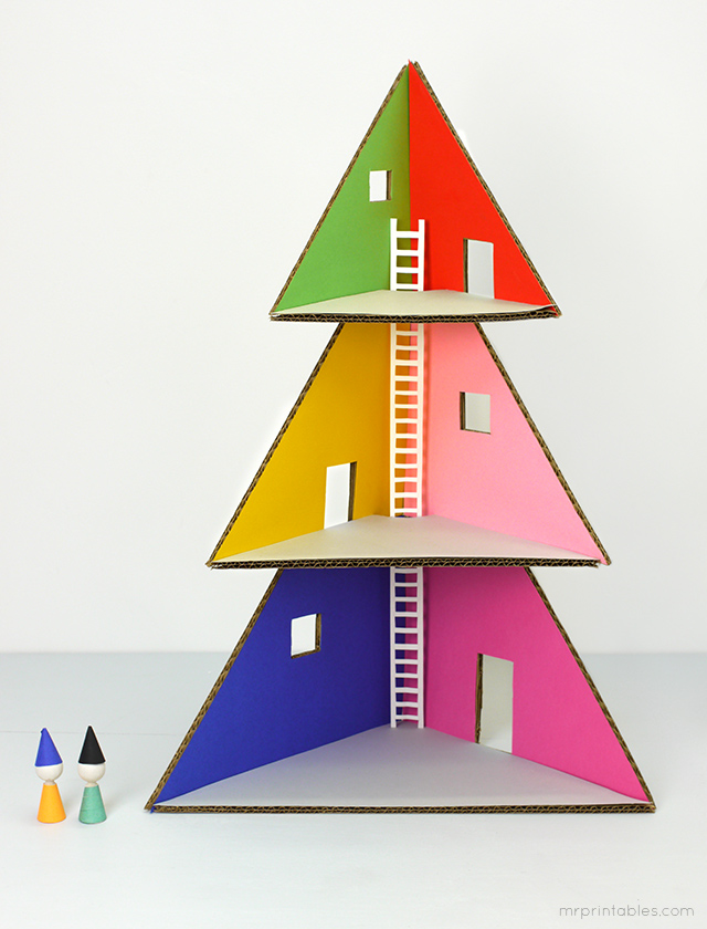 DIY cardboard Christmas tree doll house