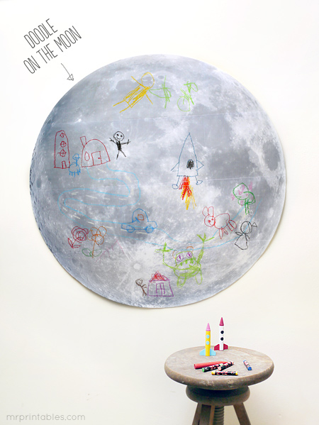 printable activity drawing on the moon
