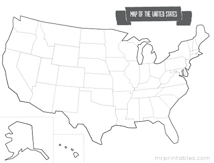 printable blank map of america