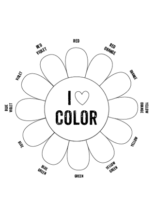 Colors wheels and tertiary color on pinterest for Blank flower coloring pages