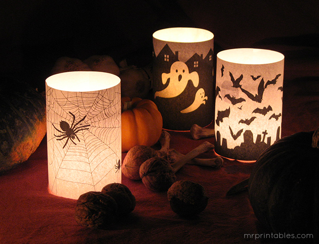 Halloween printable candle holders
