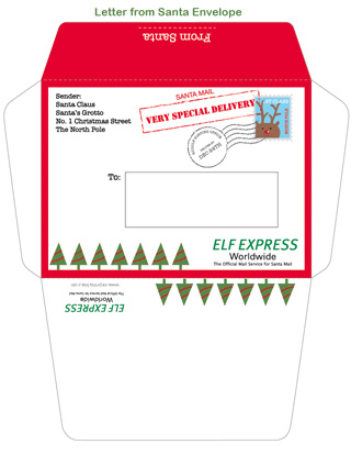 photo about Printable Santa Envelopes known as Letter Against Santa Envelope