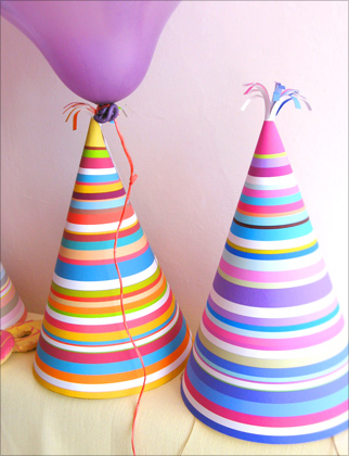 printable party hats in bright stripes