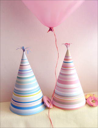 printable party hats in pastel stripes