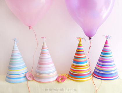 printable party hats with stripes