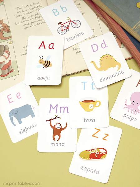 printable spanish alphabet flash cards