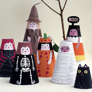 Halloween Cone Girls Paper Dolls