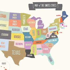 Printable Map Of Usa For Kids.Early Learning Printables For Preschool Kindergarten Mr Printables