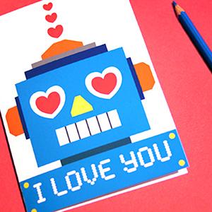 Robot Love Valentine Cards