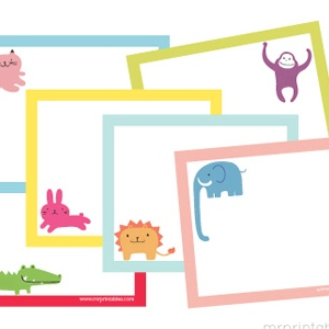 Animals Printable Note Cards