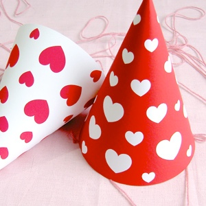 valentine hearts party hats