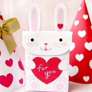 Valentine bunny party favor bag