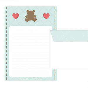Quilt Teddy Writing Paper Set