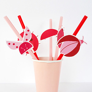 Ladybug Party Straw Toppers