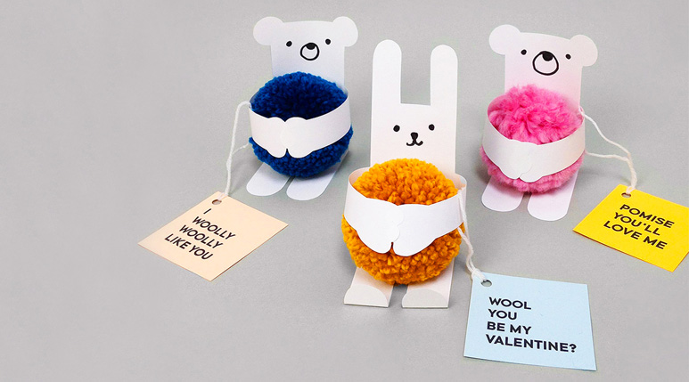 Pom Pom Animal Valentine's Day Cards